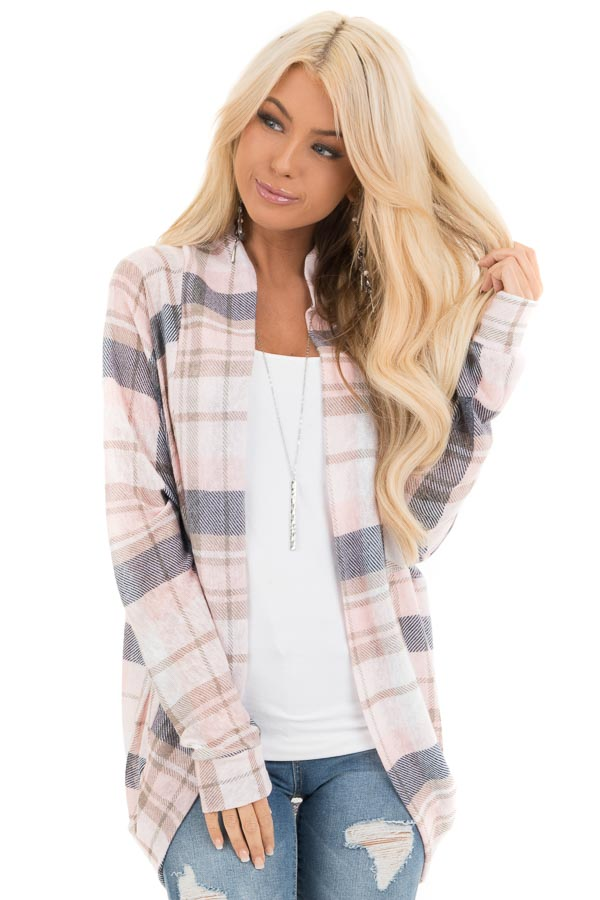 Baby Pink and Navy Plaid Open Front Lightweight Cardigan front close up