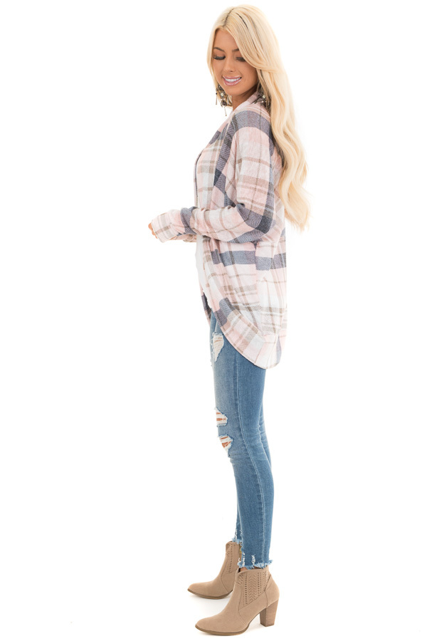 Baby Pink and Navy Plaid Open Front Lightweight Cardigan side full body