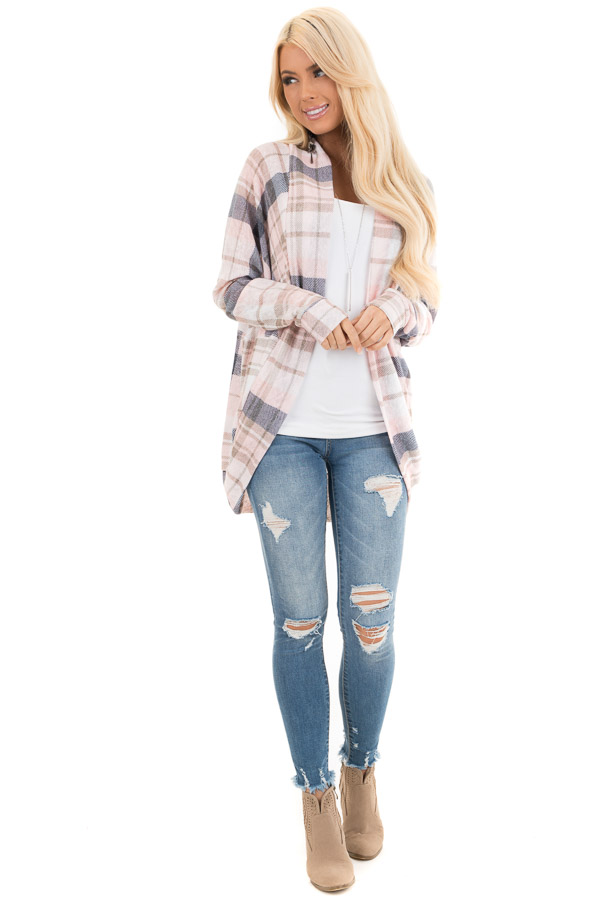 Baby Pink and Navy Plaid Open Front Lightweight Cardigan front full body