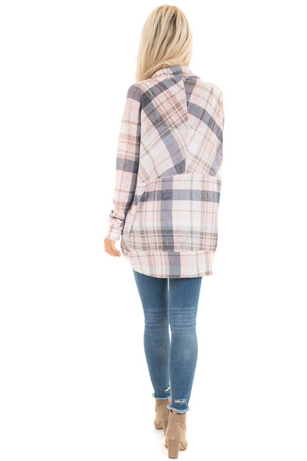 Baby Pink and Navy Plaid Open Front Lightweight Cardigan back full body