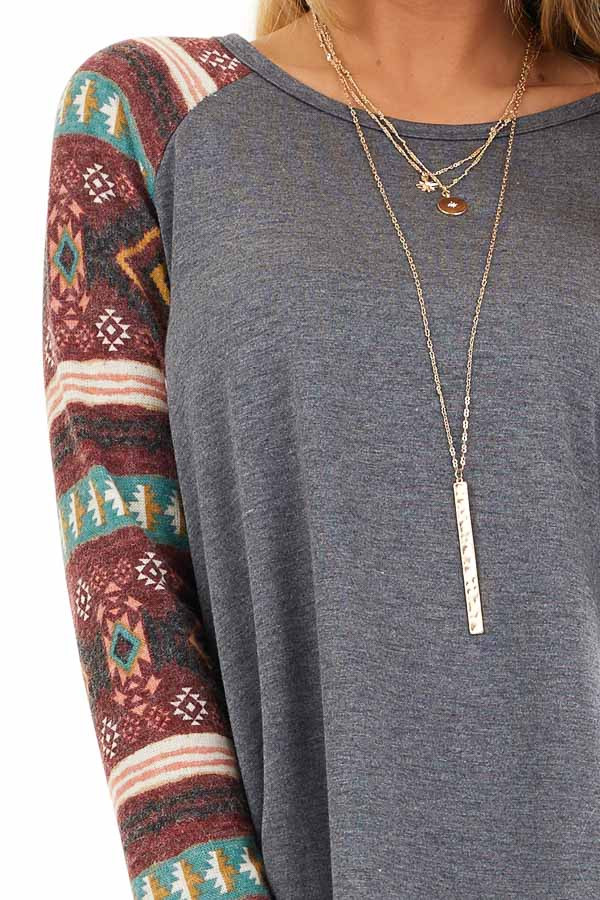 Charcoal Top with Contrasting Tribal Print Long Sleeves detail