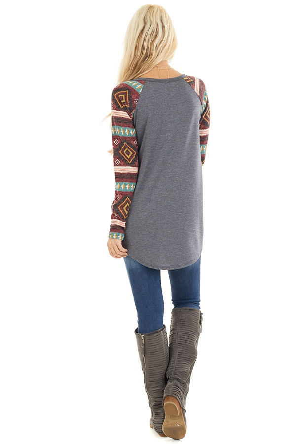 Charcoal Top with Contrasting Tribal Print Long Sleeves back full body