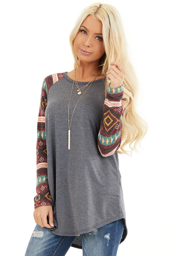 Charcoal Top with Contrasting Tribal Print Long Sleeves front close up