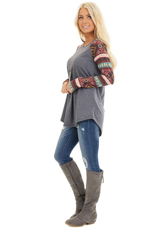Charcoal Top with Contrasting Tribal Print Long Sleeves side full body
