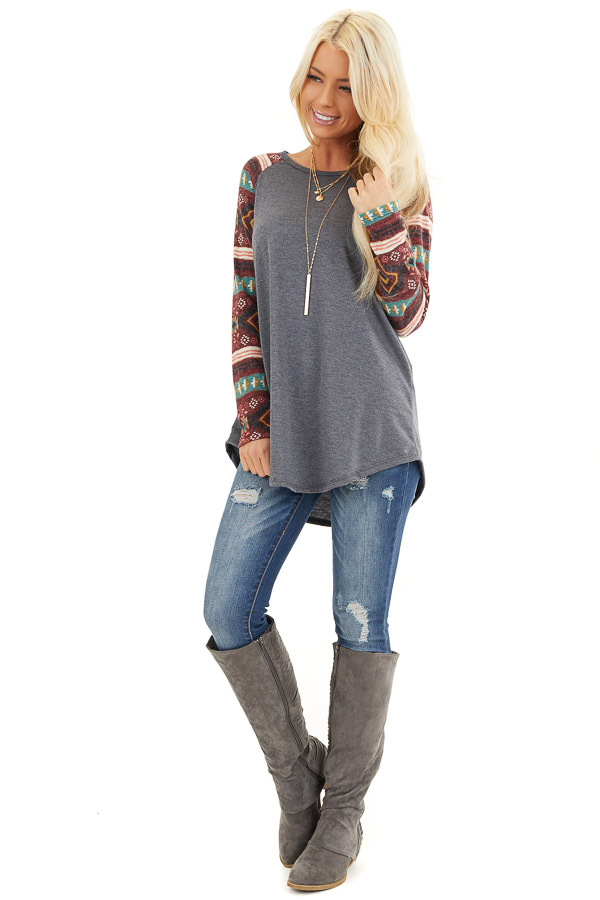 Charcoal Top with Contrasting Tribal Print Long Sleeves front full body