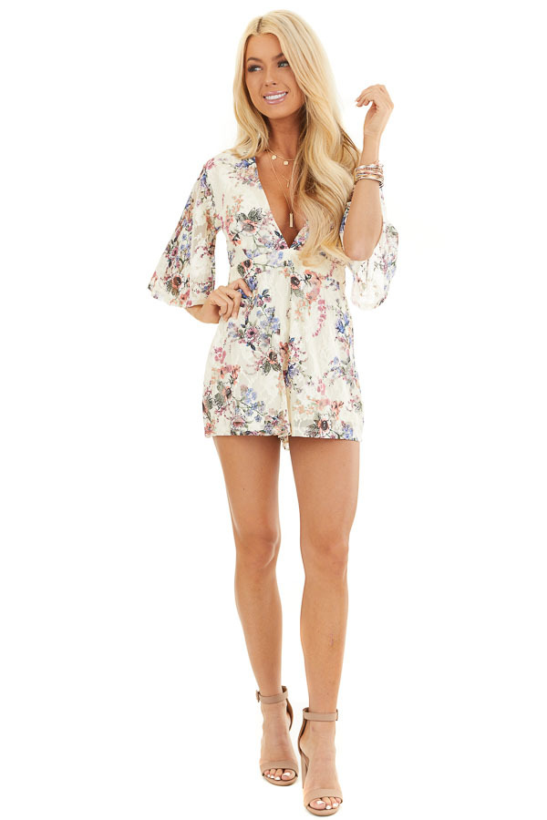 Cream Floral Print Short Sleeve Lace Romper front full body