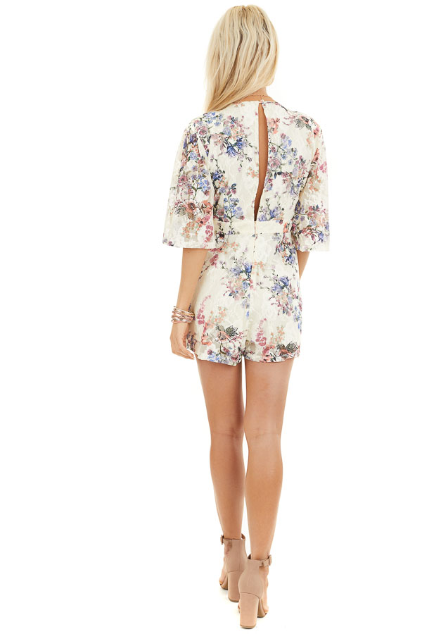 Cream Floral Print Short Sleeve Lace Romper back full body