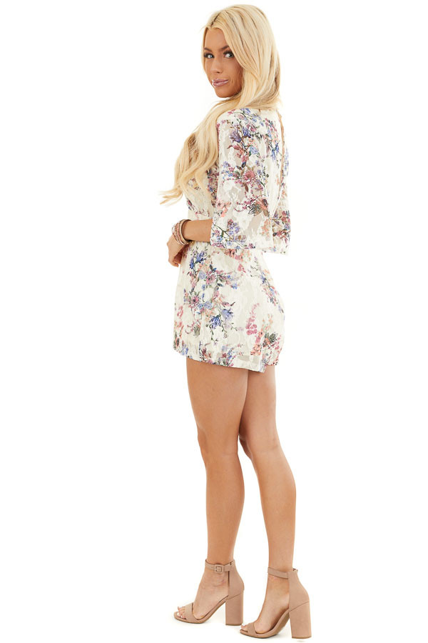 Cream Floral Print Short Sleeve Lace Romper side full body