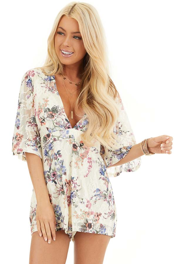 Cream Floral Print Short Sleeve Lace Romper front close up