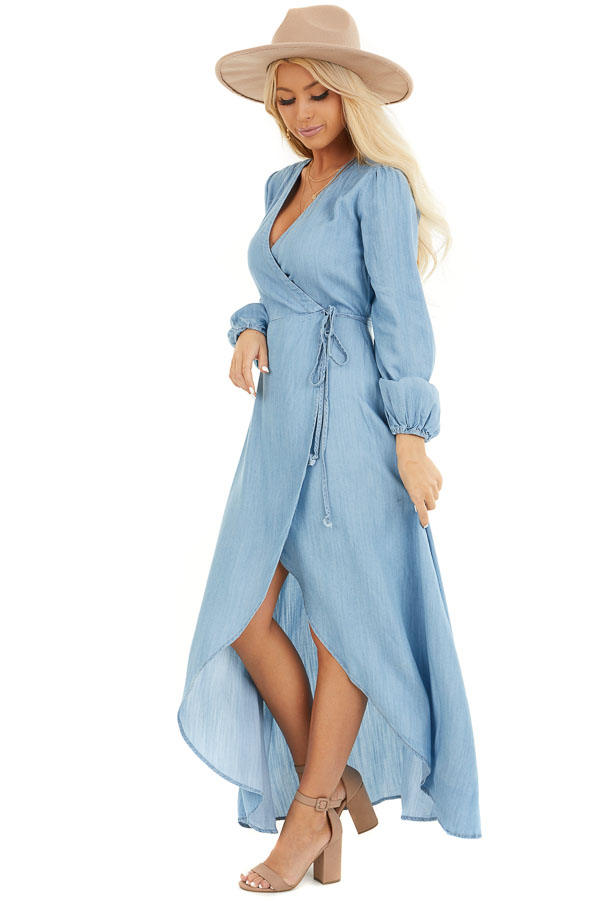 Chambray Wrap Style High Low Maxi Dress side full body