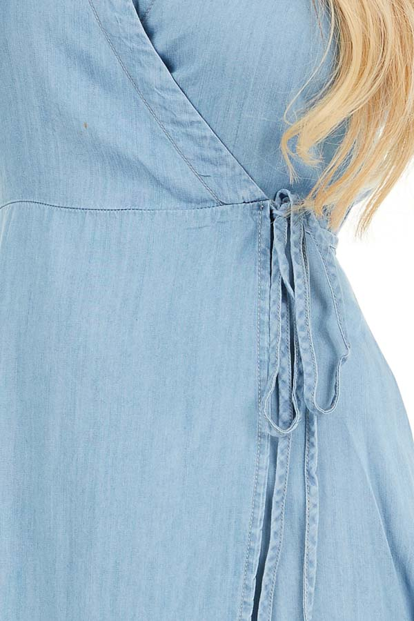 Chambray Wrap Style High Low Maxi Dress detail