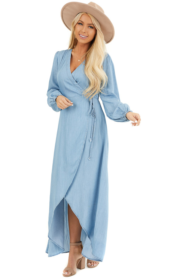 Chambray Wrap Style High Low Maxi Dress front full body
