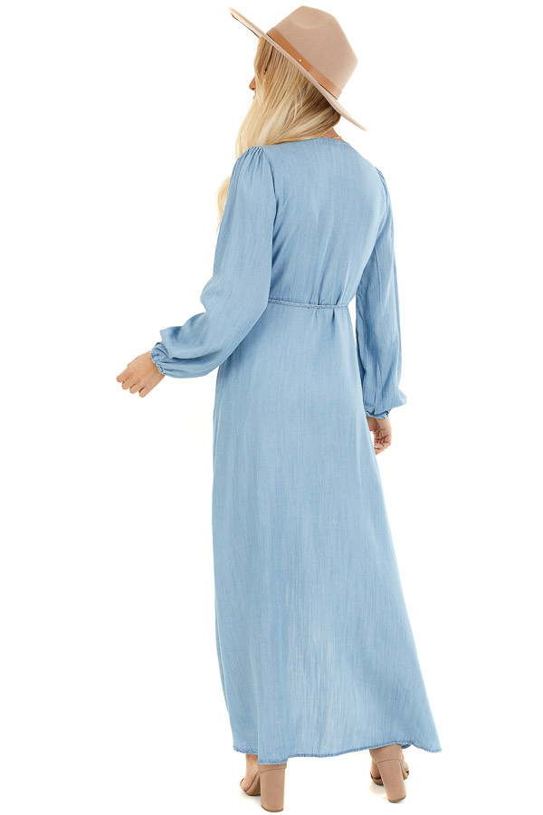 Chambray Wrap Style High Low Maxi Dress back full body