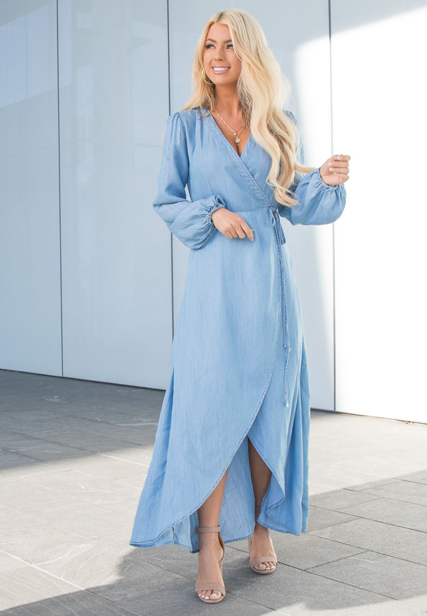 Chambray Wrap Style High Low Maxi Dress