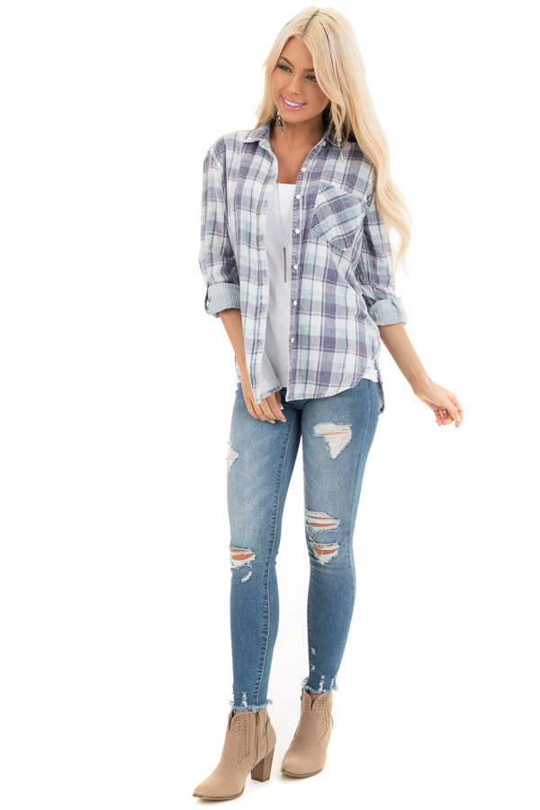 Baby Blue Plaid Button Up Top with Front Pocket front full body