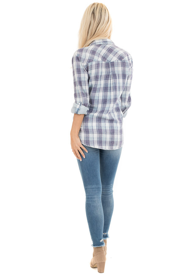 Baby Blue Plaid Button Up Top with Front Pocket back full body