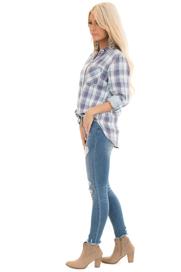 Baby Blue Plaid Button Up Top with Front Pocket side full body