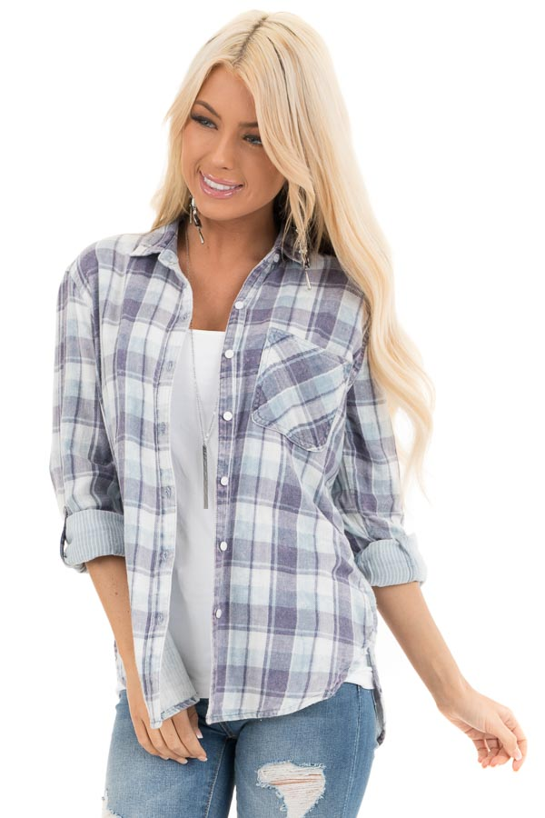 Baby Blue Plaid Button Up Top with Front Pocket front close up