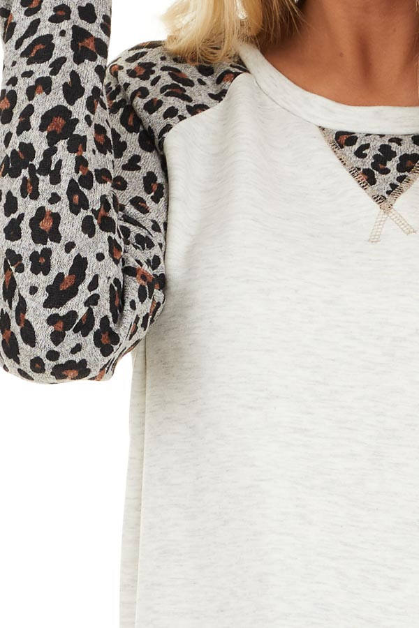 Heathered Ivory Long Sleeve Top with Leopard Print Sleeves detail