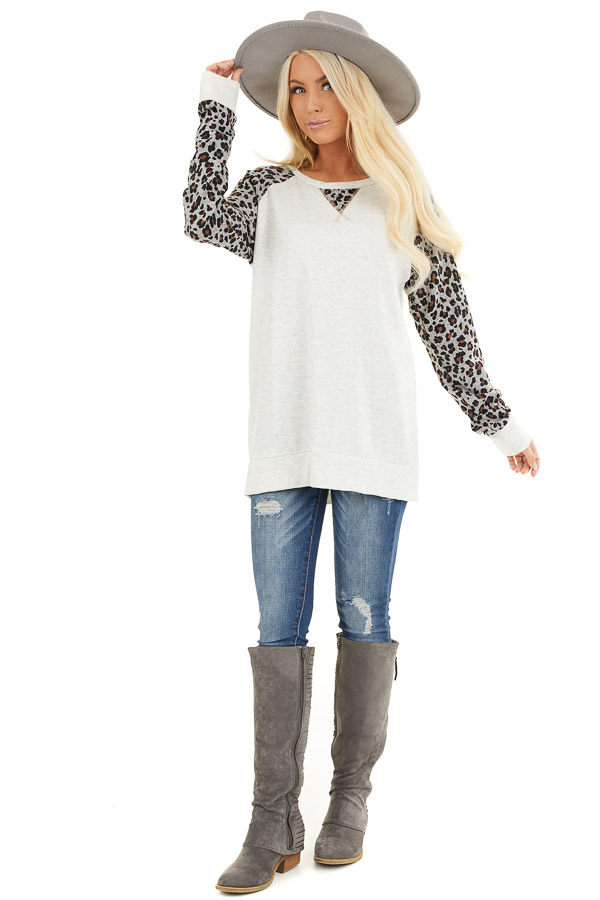 Heathered Ivory Long Sleeve Top with Leopard Print Sleeves front full body
