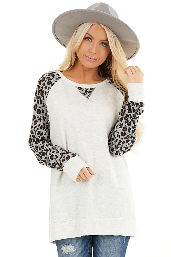 Heathered Ivory Long Sleeve Top with Leopard Print Sleeves front close up