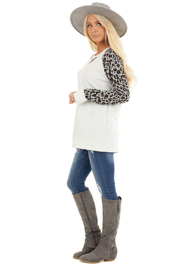 Heathered Ivory Long Sleeve Top with Leopard Print Sleeves side full body