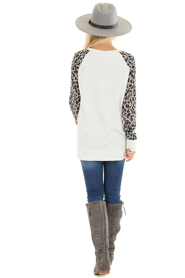 Heathered Ivory Long Sleeve Top with Leopard Print Sleeves back full body