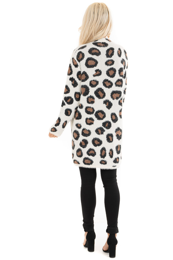 Ivory Super Soft Fuzzy Leopard Print Open Front Cardigan back full body
