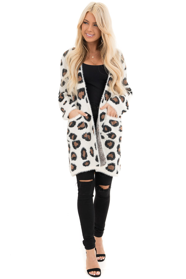 Ivory Super Soft Fuzzy Leopard Print Open Front Cardigan front full body