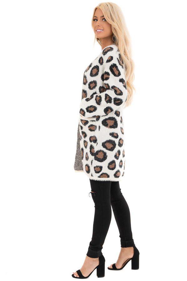 Ivory Super Soft Fuzzy Leopard Print Open Front Cardigan side full body