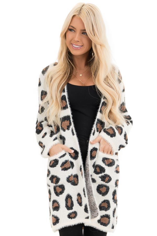 Ivory Super Soft Fuzzy Leopard Print Open Front Cardigan front close up