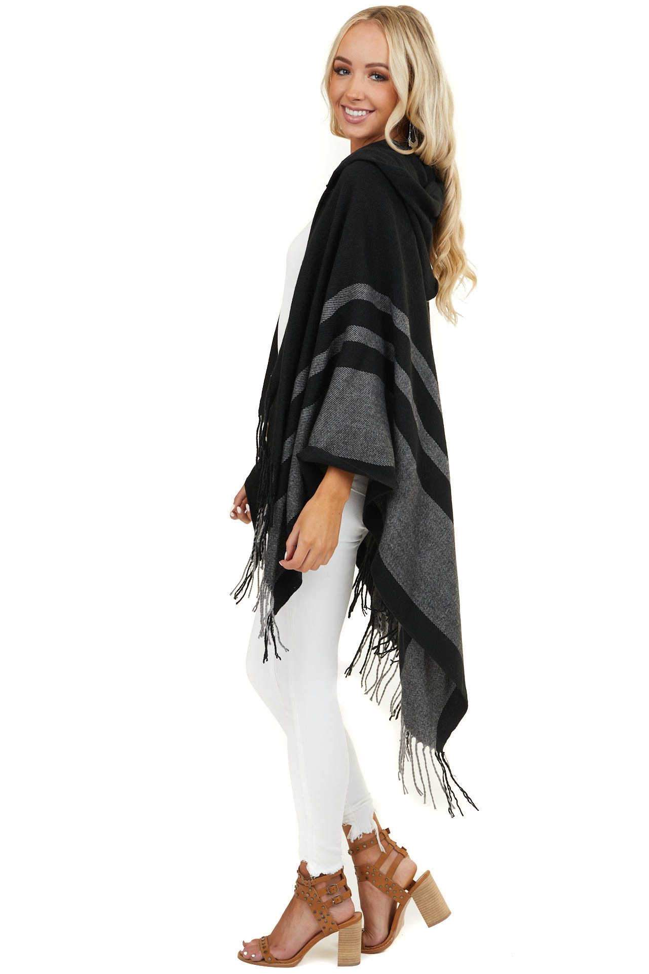 Black and Charcoal Woven Hooded Poncho with Fringe