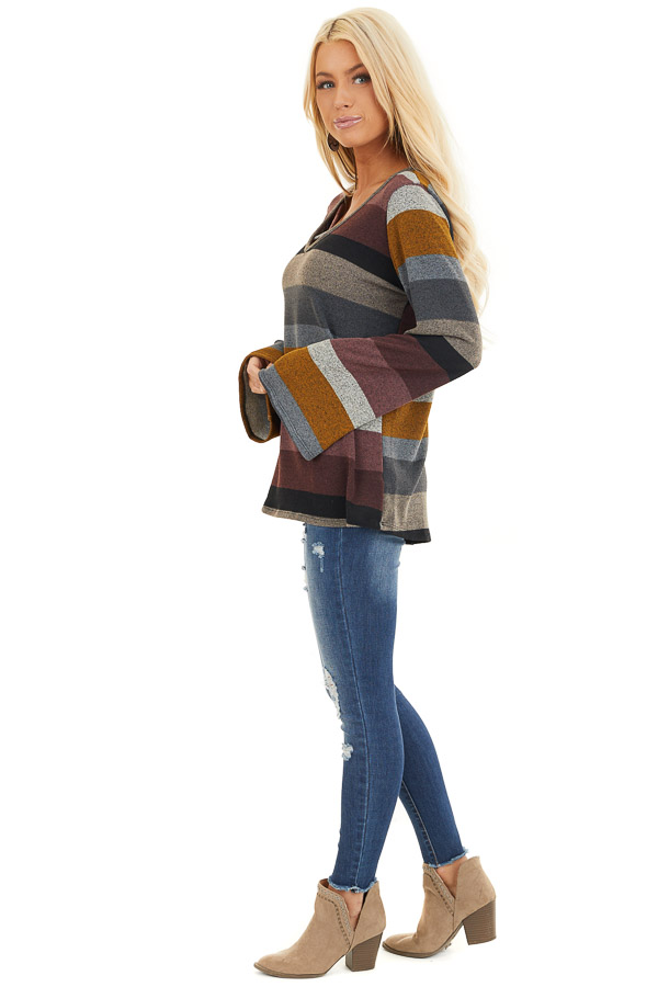 Multi Color Striped Long Sleeve Top with Criss Cross Details side full body