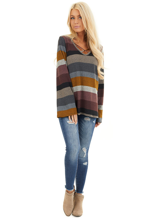 Multi Color Striped Long Sleeve Top with Criss Cross Details front full body