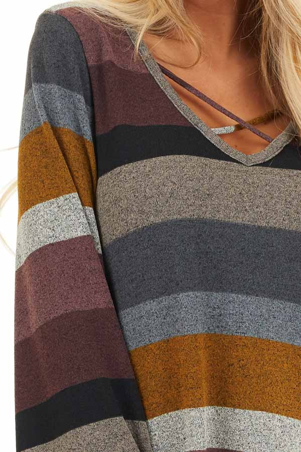 Multi Color Striped Long Sleeve Top with Criss Cross Details detail