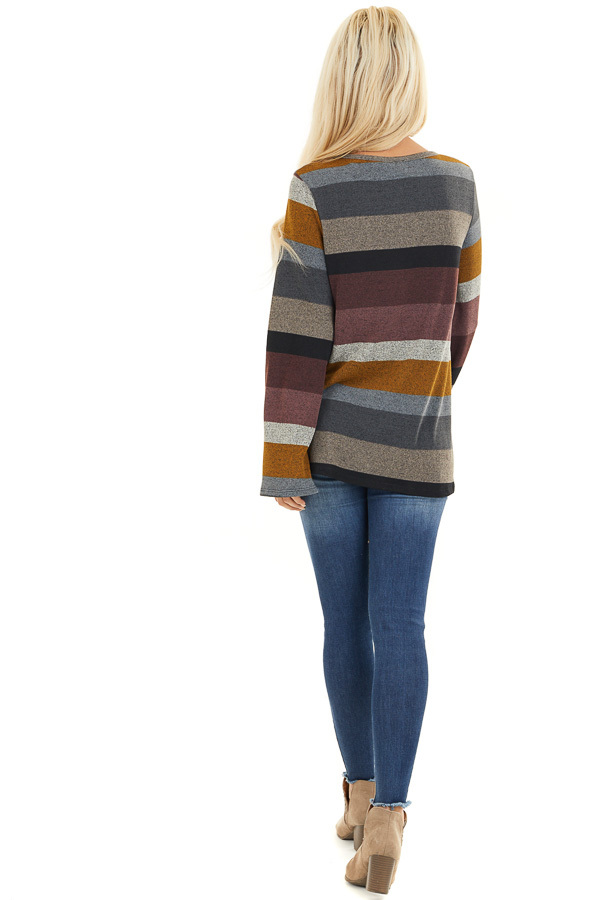 Multi Color Striped Long Sleeve Top with Criss Cross Details back full body