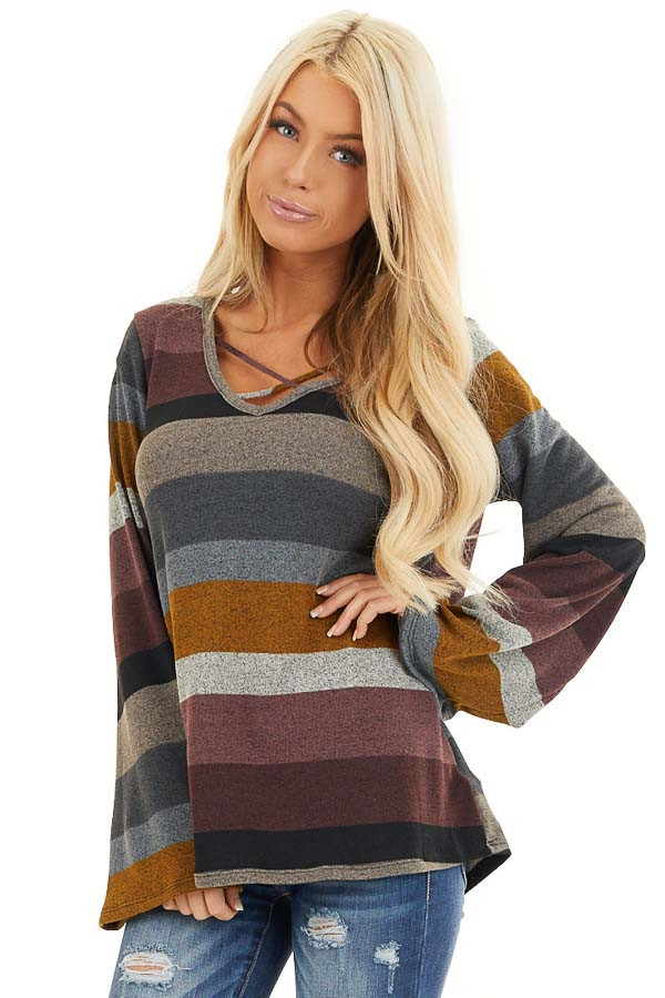 Multi Color Striped Long Sleeve Top with Criss Cross Details front close up