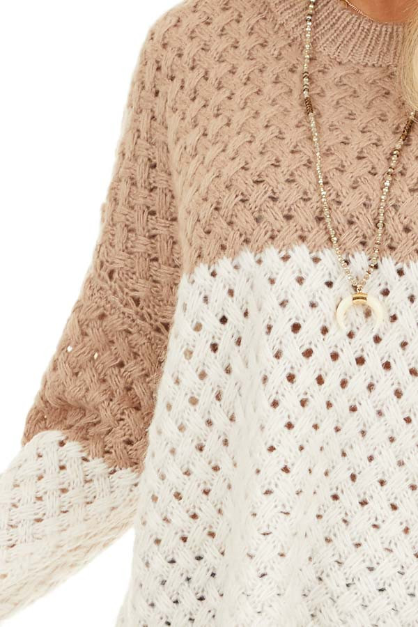Mocha and Cream Color Block Knit Top with Ribbed Details detail