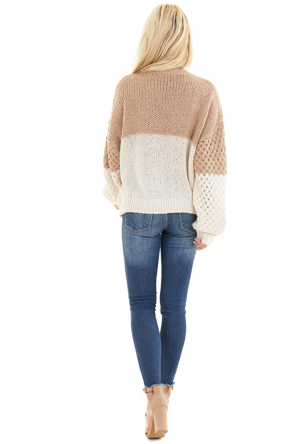 Mocha and Cream Color Block Knit Top with Ribbed Details back full body