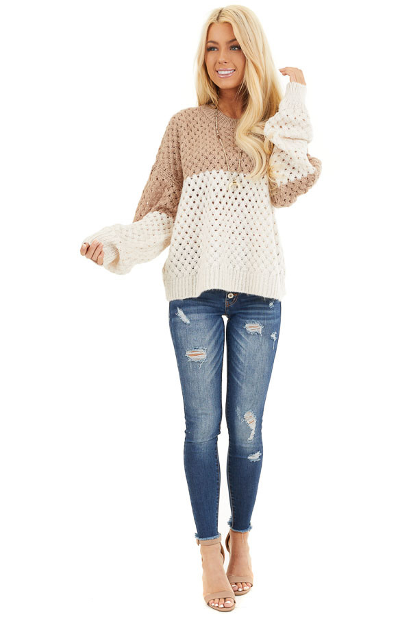 Mocha and Cream Color Block Knit Top with Ribbed Details front full body