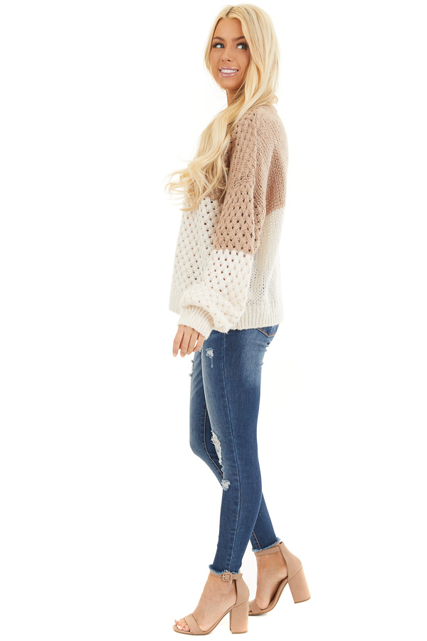 Mocha and Cream Color Block Knit Top with Ribbed Details side full body