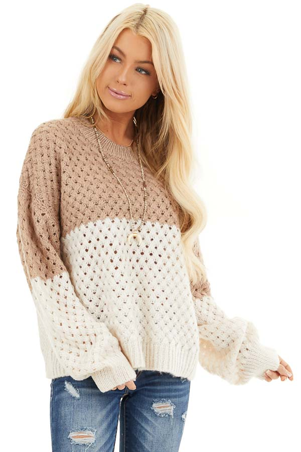 Mocha and Cream Color Block Knit Top with Ribbed Details front close up