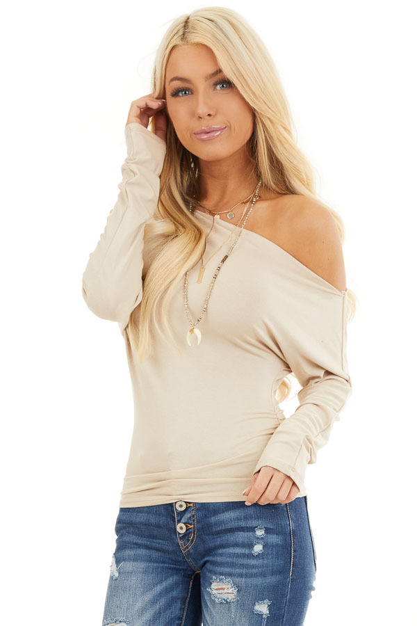 Beige Off the Shoulder Long Sleeve Top with Side Ruching front close up