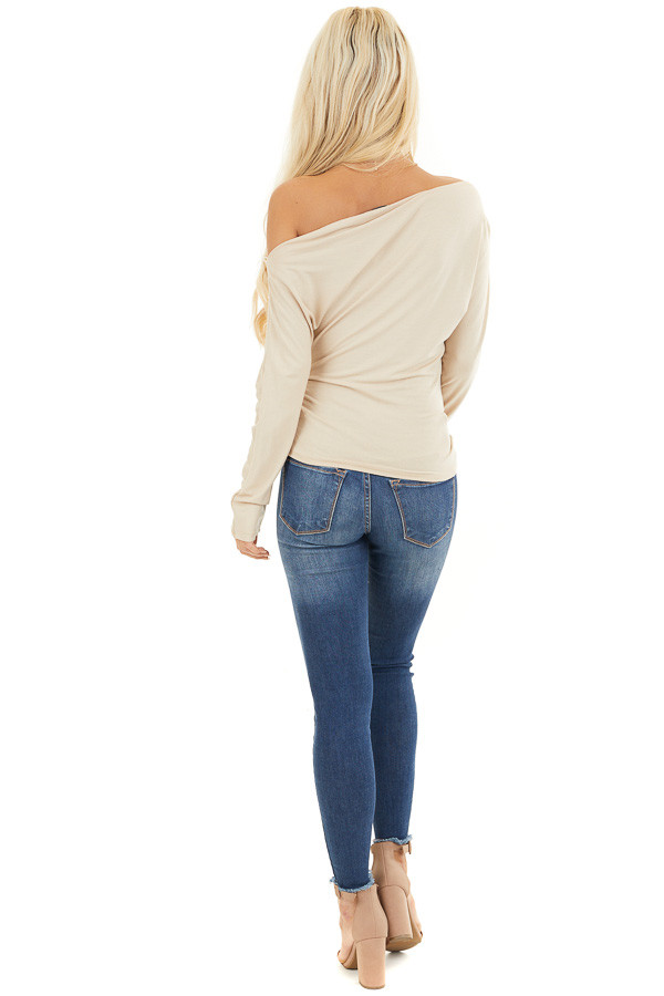 Beige Off the Shoulder Long Sleeve Top with Side Ruching back full body