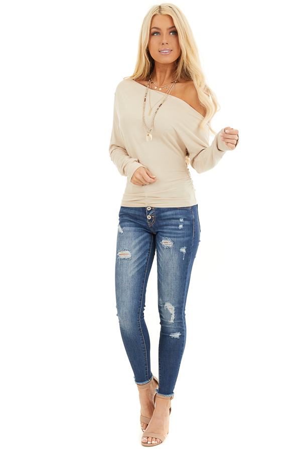 Beige Off the Shoulder Long Sleeve Top with Side Ruching front full body