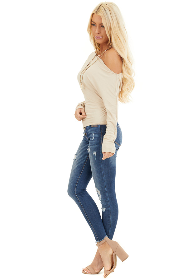 Beige Off the Shoulder Long Sleeve Top with Side Ruching side full body