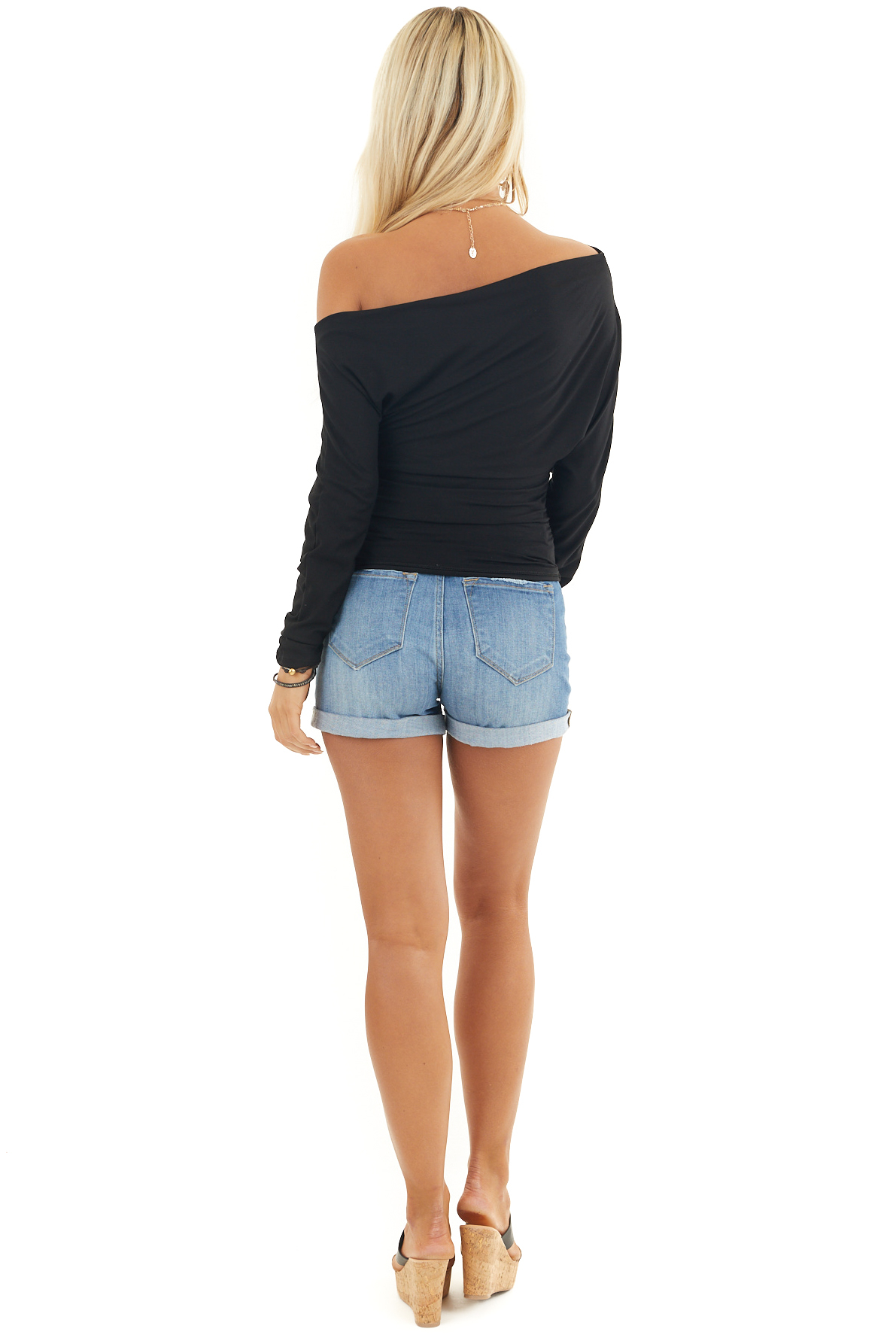Black Off the Shoulder Long Sleeve Top with Side Ruching
