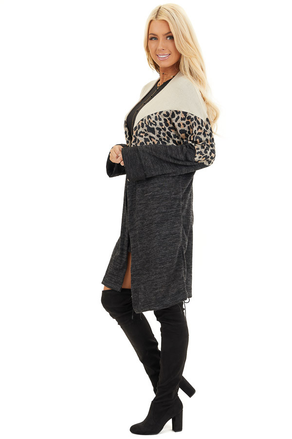 Charcoal and Leopard Print Color Block Knit Cardigan side full body