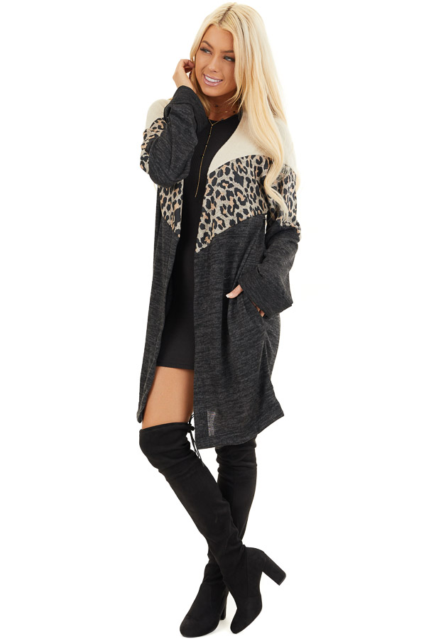 Charcoal and Leopard Print Color Block Knit Cardigan front full body