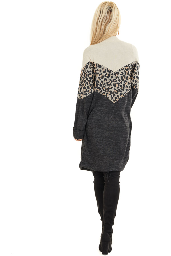 Charcoal and Leopard Print Color Block Knit Cardigan back full body